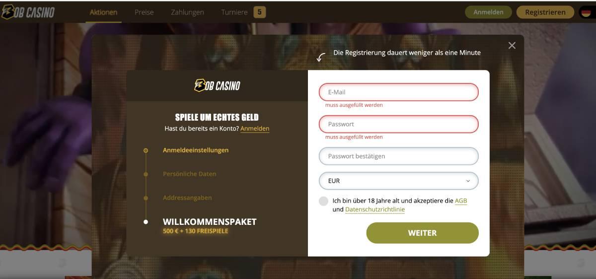 bob casino anmeldung
