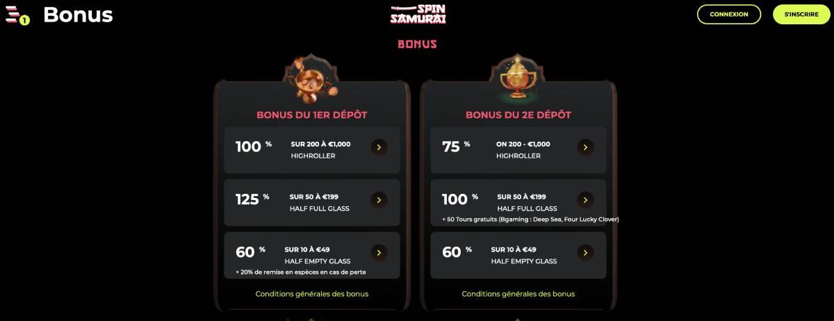 spinsamurai casino bonus