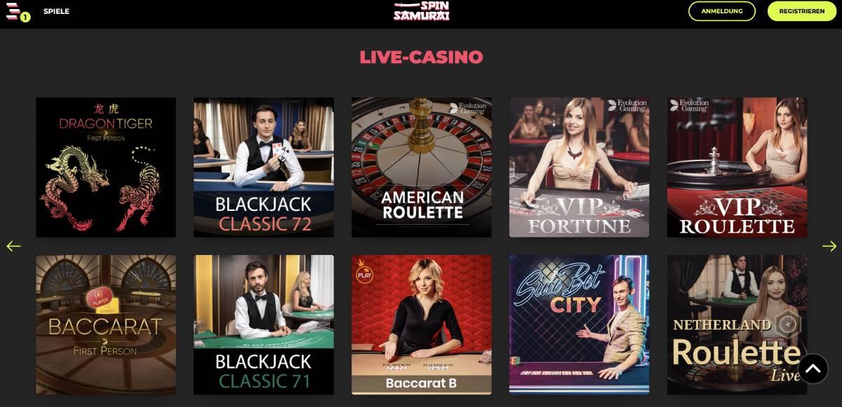 live casino spin samurai